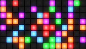 Colorful Disco nightclub dance floor wall glowing light grid background vj loop. Disco nightclub dance floor LED dancing wall glowing light grid dancefloor