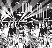 Disco open air crowd young people dance black and white. Stock Image