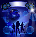 Disco Party. Blue background with sexy girls shapes Royalty Free Stock Photo