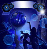 Disco Party. On blue background with sexy girls shapes Royalty Free Stock Images