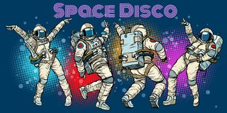 Disco party astronauts dancing men and women. Pop art retro comic book vector cartoon hand drawn illustration Royalty Free Stock Photos
