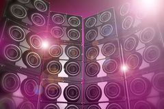 Disco Party Background. Pinky and Flashy Disco Party Background - 3D Rendered Speakers Wall Disco Party Background Illustration Royalty Free Stock Photos