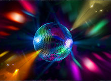 DISCO PARTY BALLS. Disco glitter balls at a party Stock Image