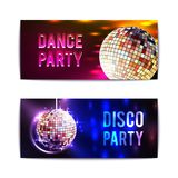 Disco Party Banners Horizontal Royalty Free Stock Images