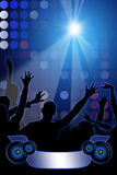 Disco Party on blue background. With peoples shapes Stock Photos