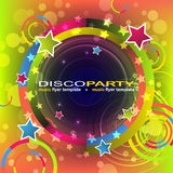 Disco party colored flyer background, illustration Stock Photo
