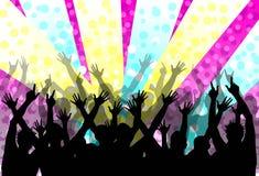 Disco party colored illustration. Stylish disco party colored illustration with silhouettes of people royalty free illustration