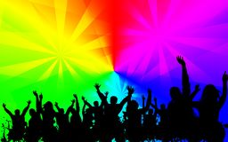 Disco party colorful background image. With party enjoying people.Music and dance Royalty Free Stock Image