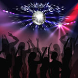 Disco party dancefloor. Vector silver mirror ball with glowing, spotlights and silhouettes of people on disco party Royalty Free Stock Images