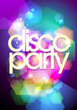 Disco party design on a bokeh background. Royalty Free Stock Photography