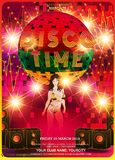 Disco Party design template with fashion girl royalty free illustration