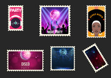 Disco party envelope stamps Stock Image