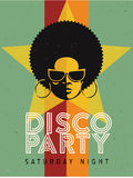 Disco party event flyer. Creative vintage poster. Vector retro style template. Black woman in sunglasses. Stock Photo