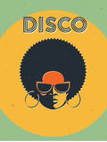 Disco party event flyer. Creative vintage poster. Vector retro style template. Black woman in sunglasses.  stock illustration