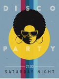 Disco party event flyer. Creative vintage poster. Vector retro style template. Black woman in sunglasses. Stock Images