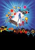 Disco-Party-Flugblatt-Drehscheibe-Farben-Explosion Stock Abbildung
