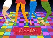 Disco party flyer. Feet of people dancing on club party. Unrecognizable Stock Photo