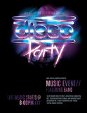 Disco party flyer template. Shiny retro 80s party or disco party invitation template royalty free illustration