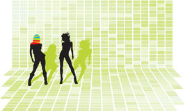 Disco party girls. Vector silhouettes at green squares 3d mosaic wall Royalty Free Stock Photos