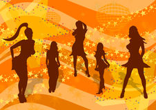 Disco party - girls play. Vector silhouettes of young women on a retro disco background Royalty Free Stock Photos