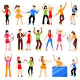 Disco Party Icons Set. Dancing and drinking people at disco party icons set flat  vector illustration Royalty Free Stock Image
