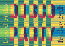 Disco Party Inscription. Striped Colorful Letters Royalty Free Stock Image