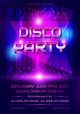 Disco party invitation. Colorful flyer for disco party. Invitation with shiny background. Vector illustration Stock Image