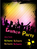 Disco party poster background with grunge frame. Poster for disco party with silhouettes of dancing people, grunge frame and colorful blots Royalty Free Stock Image