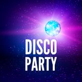 Disco party poster background. Night club disco ball backdrop. Vector illustration.  stock illustration