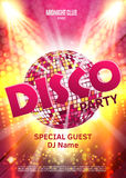 Disco party poster. Background party with disco ball.  Stock Images