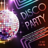 Disco Party Poster. Disco dance party poster with glass ball decoration vector illustration vector illustration