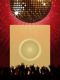 Disco party poster with disco ball and crowd Stock Images