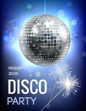 Disco Party Poster. Party invitation poster with disco ball in spot lights vector illustration Stock Image