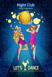 Disco party poster. Disco party night club colored sketch poster with young sexy dancing girls vector illustration Stock Images