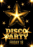 Disco party poster template with shining gold star. Vector illustration Stock Images