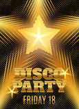 Disco party poster template with shining gold star. Vector illustration Stock Photos