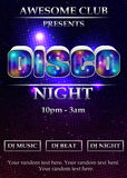 Disco party poster template. Vibrant 80s styled disco night party event poster, flyer, banner, brochure template. Luminous font, neon lights and dramatic Stock Photography