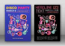 Disco Party Posters. Two options of Disco Party poster layout, flyer design, size A4 Royalty Free Stock Image