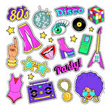 Disco Party Retro Fashion Elements with Guitar, Lips and Stars for Stickers, Patches, Badges Royalty Free Stock Photo