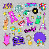 Disco Party Retro Fashion Elements with Guitar, Lips and Stars for Stickers, Patches, Badges Stock Image