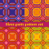 Disco party seamless patterns set Royalty Free Stock Images