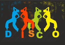 Silhouette of people who dancing on disco  Royalty Free Stock Photos