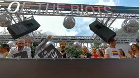 Disco party trailer with people partying during the LGBT pride parade Antwerp, 10 august, 2019, Antwerpen, Belgium. A Disco party trailer with people partying stock video footage