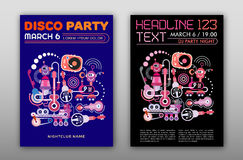 Disco Party. Two options of Disco Party poster mock up, flyer design, size A4 Stock Photography
