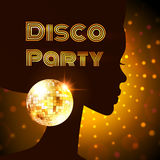 Disco party. Vector illustration. Disco Party invitation template with silhouette of a girl Stock Images