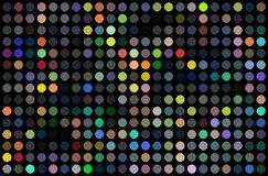 Disco party wall abstract design. Colorful dots mosaic on black background. Bright yellow red blue green lights. royalty free illustration