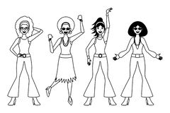 disco women stock illustrations 4 553 disco women stock Medieval Party Invitations disco women dancing cartoon in black and white vector illustration graphic design
