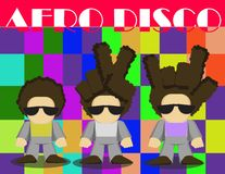Disco-Person mit Afrofrisur Variatoon Stockfoto