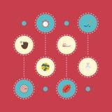 Disco piano delle icone, pallavolo, uniforme ed altri elementi di vettore L'insieme dei simboli piani delle icone di forma fisica Fotografia Stock