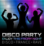Disco poster with dancers Royalty Free Stock Photo